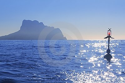 Ifach Penon mountain from Calpe blue fog backlight
