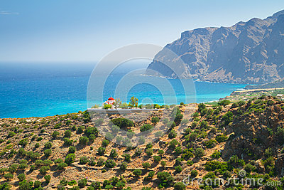 Iglesia griega en la costa de Creta