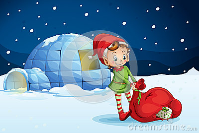 An igloo and a boy