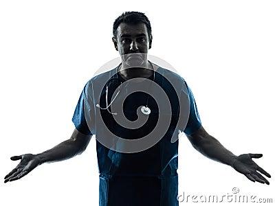 Ignorant doctor man silhouette portrait