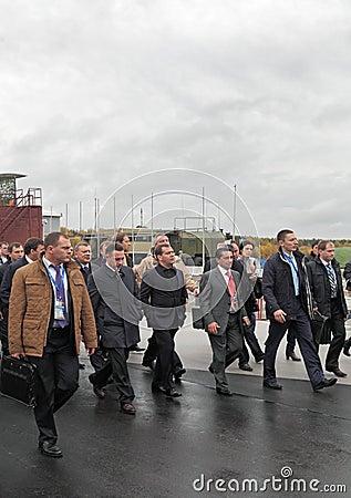 Igor Kholmanskikh, Dmitry Medvedev and Oleg Sienko Editorial Image