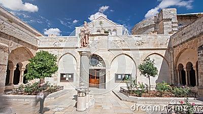 A igreja da natividade do hyperlapse do timelapse de Jesus Christ Palestin A cidade de Bethlehem vídeos de arquivo