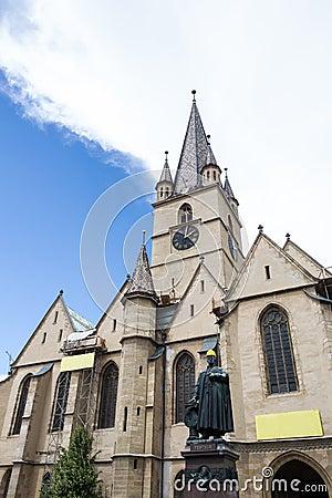 Igreja de Evanghelical em Sibiu sob a restauração
