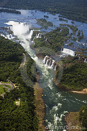 Aerial view of Iguassu Falls taken from a helicopter