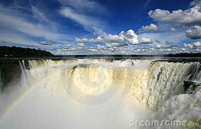 Iguazu waterfall with rainbow