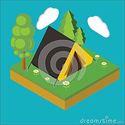 Iisometric camp, flat 3d isometric pixel art. Iinfographics illu Vector Illustration