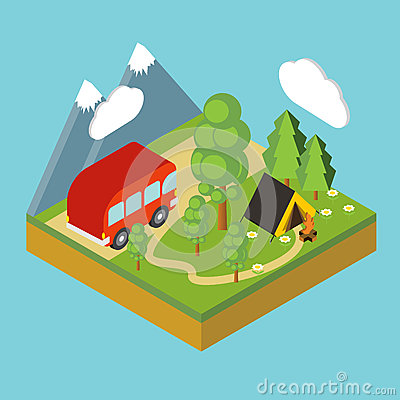 Iisometric camp, flat 3d isometric pixel art. Vector Illustration