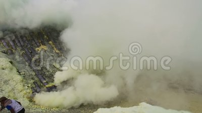 Ijen volcano timelapse, Индонезия сток-видео