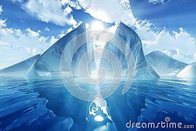Ijsberg in kalme overzees
