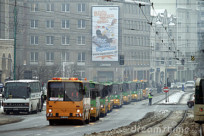 Ikarus buses parade Editorial Image