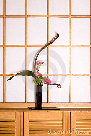 Ikebana and shoji window