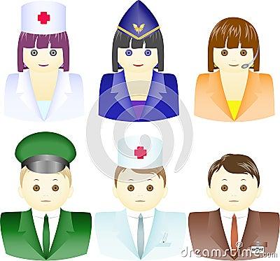 Ikonen der Leute von den verschiedenen Berufen