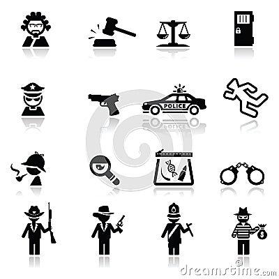 Ikonen eingestelltes Gesetz und Gerechtigkeit