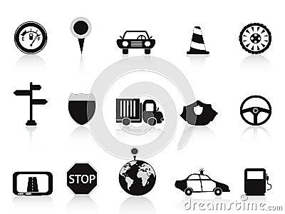 Ikony czarny ruch drogowy