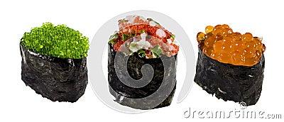 Ikura (red caviar), tobiko (flying fish caviar)