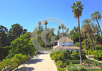 Il Alcazar reale fa il giardinaggio limite. Siviglia, Spagna