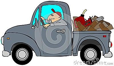 Il camion ha caricato con legno