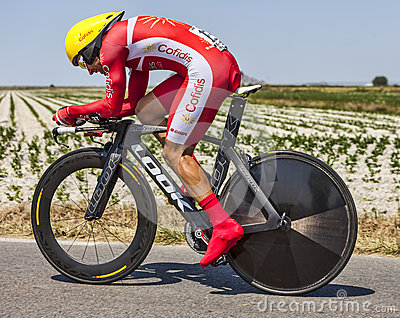 Il ciclista Christophe Le Mevel Immagine Editoriale