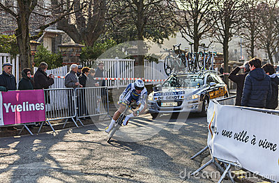 Il ciclista De gendt Thomas Parigi Nizza Prolo 2013 Immagine Editoriale
