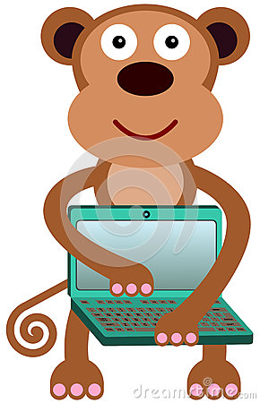 Il computer portatile della scimmia