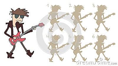 Il giocatore di chitarra ombreggia il gioco visivo