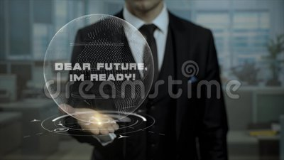 Il mediatore maschio, testa della partenza cripto di valuta mostra a parole caro Future, Im pronto sulla sua mano stock footage