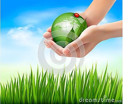 Il mondo e la foglia verdi hanno insetto di amore in mani for Il verde mondo