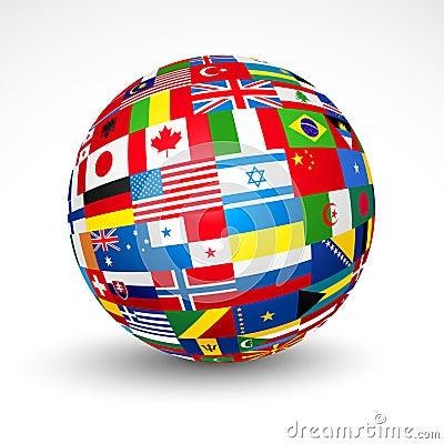 Il mondo inbandiera la sfera.