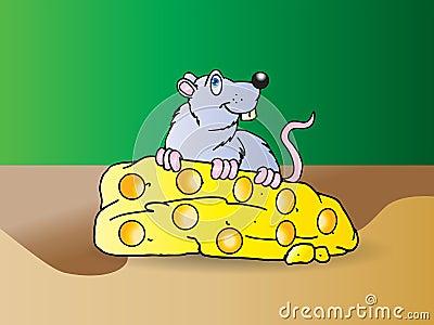 Il mouse grigio mangia il grande formaggio