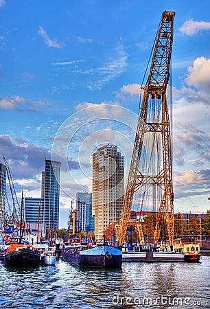 Il porto di Rotterdam Fotografia Editoriale