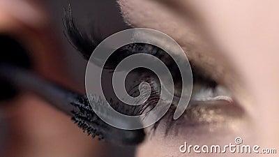 Il primo piano applica la mascara sui cigli di bello occhio femminile azione Lunghezza incredibile della sferza con effetto eccel stock footage