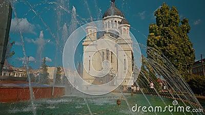 Il primo piano ha sparato il Dormition della cattedrale di Theotokos a Cluj Napoca, Romania video d archivio