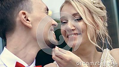 Il primo piano, ritratto, la sposa segna delicatamente la barba dello sposo Selo esamini nozze Albero nel campo stock footage