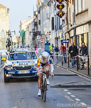 Il prologo 2013 di Bille Gaëtan- Parigi del ciclista Nizza in Houilles Fotografia Editoriale