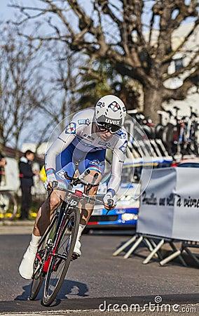 Il prologo 2013 di Geniez Alexandre Parigi del ciclista Nizza in Houill Fotografia Editoriale