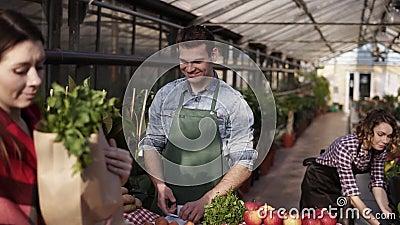 Il ritratto di un venditore europeo che indossa il grembiule verde sta dando cibo biologico in sacchetto di carta marrone a un cl video d archivio