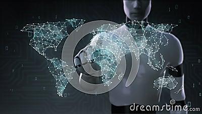Il robot, schermo commovente del cyborg, icona di acquisto di Internet collega la mappa di mondo globale, coltiva la rete online  illustrazione di stock