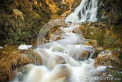 Ilkley Moor waterfall, UK
