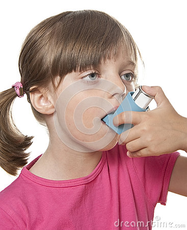Free Ill Little Girl With Inhaler Royalty Free Stock Photography - 25716137