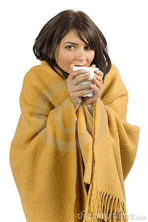 Ill woman with hot cup