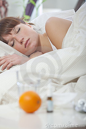 Ill woman sleeping