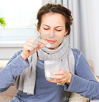 Ill Woman Taking Medicines