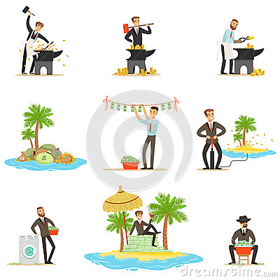 Illegal Money Laundering And Using Offshores Series Of Illustrations With Corrupt Businessman Washing Dirty Money Vector Illustration