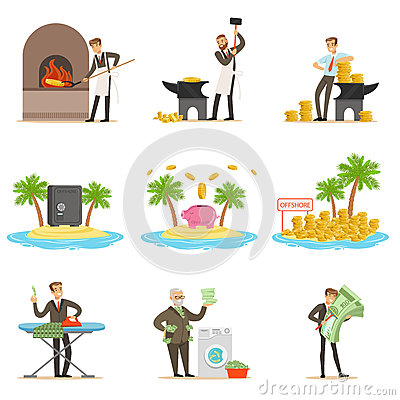 Illegal Money Laundering And Using Offshores Set Of Illustrations With Corrupt Businessman Washing Dirty Money Vector Illustration
