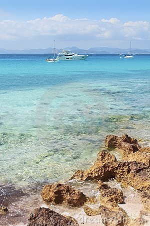 Illetes view from Savina port Formentera