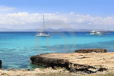 Illetes view from Savina port Formentera