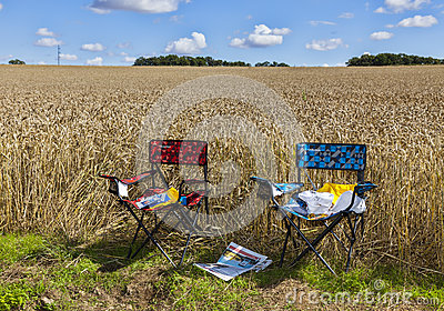 The Chairs of Spectators of Le Tour de France Editorial Photo