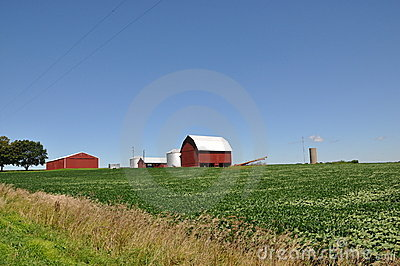 Illinois Farm with Red Barn