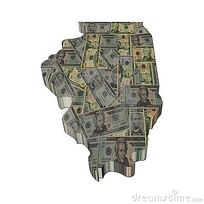 Illinois map 3d render with dollars