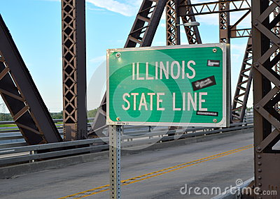 Illinois State Line Sign at McKinley Bridge